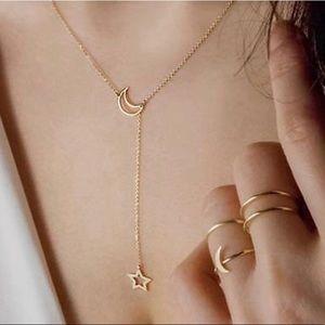 Liv Moon + Star Gold Lariat Interlock Necklace